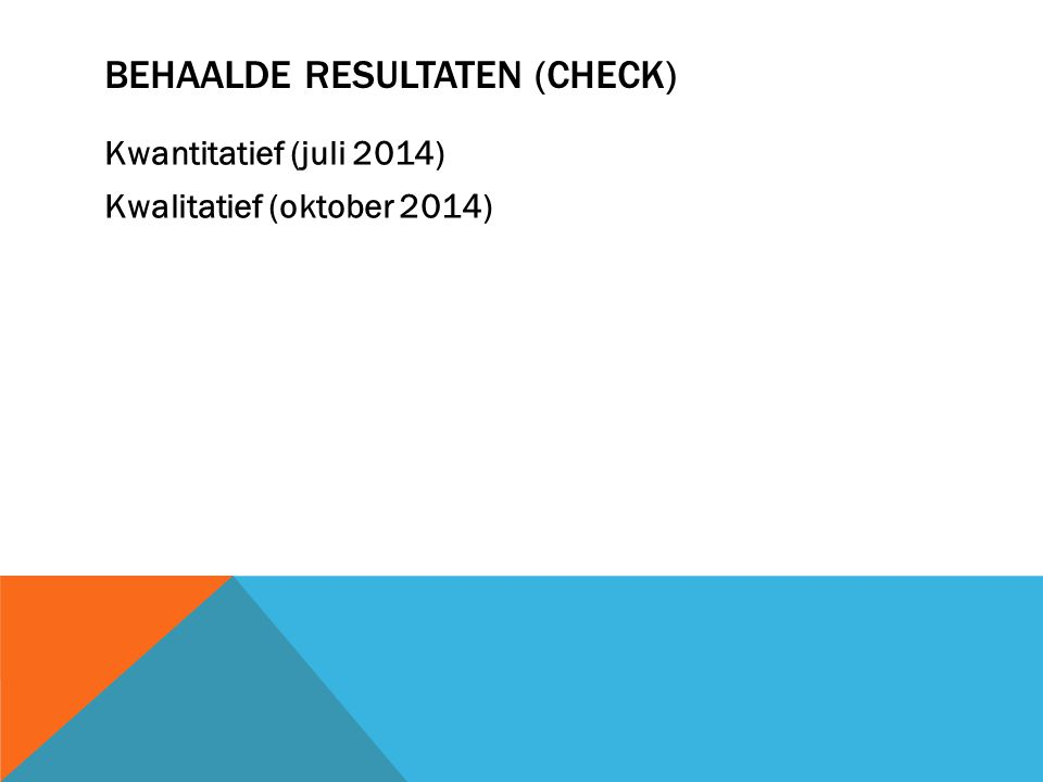 Behaalde resultaten (check)