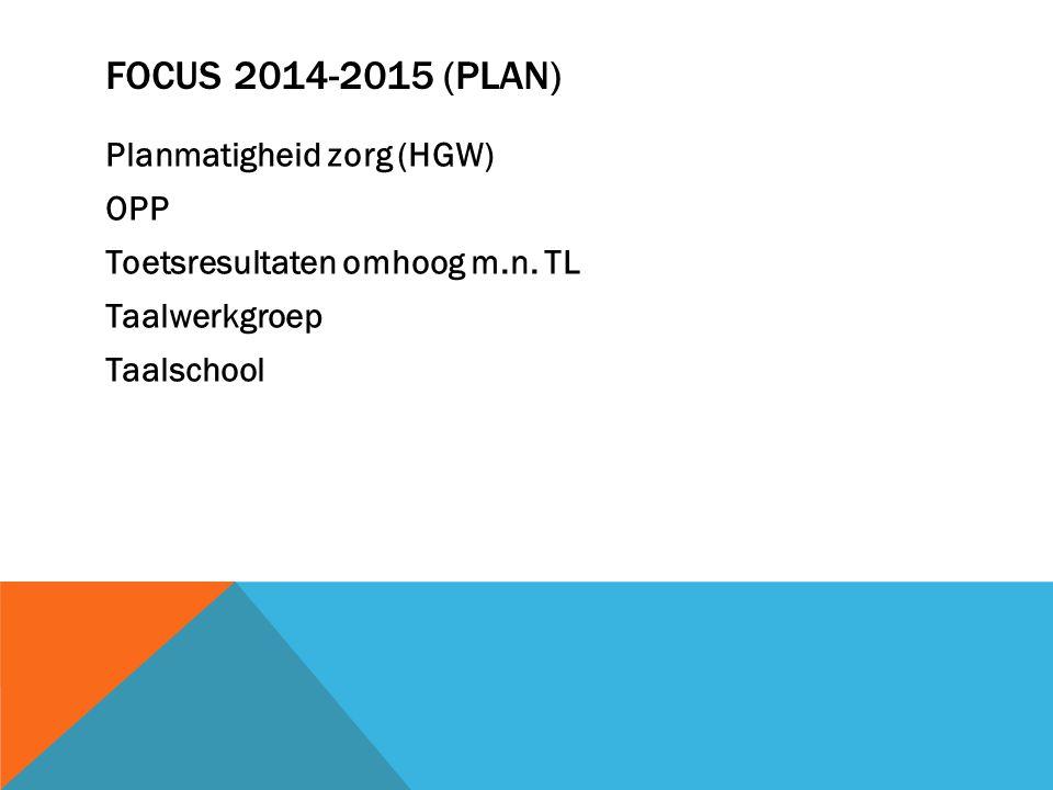 Focus 2014-2015 (plan) Planmatigheid zorg (HGW) OPP Toetsresultaten omhoog m.n.
