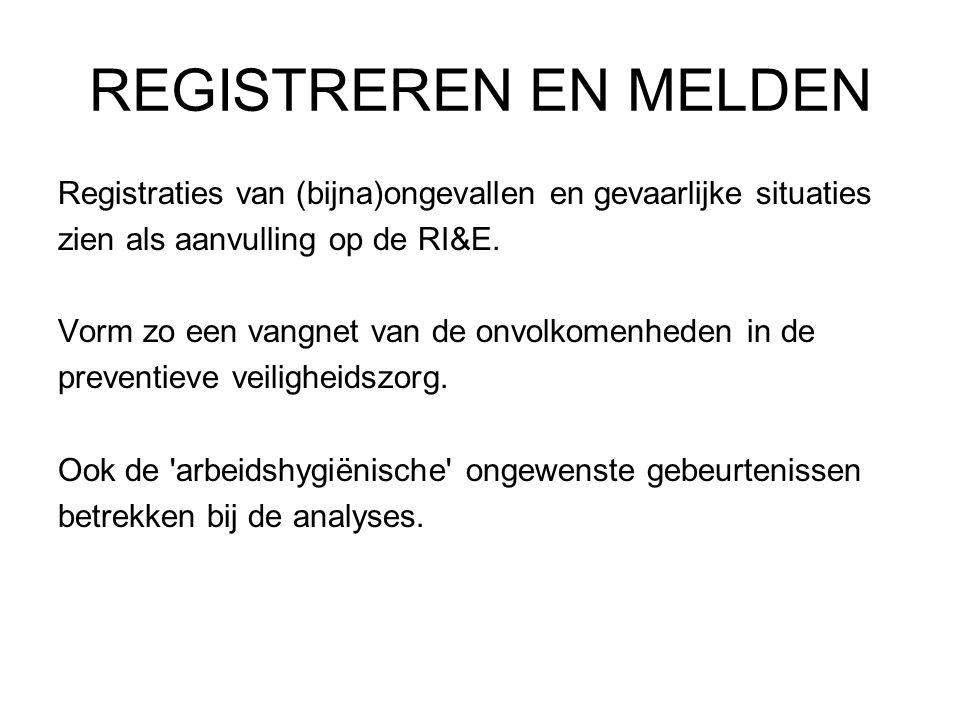 REGISTREREN EN MELDEN Registraties van (bijna)ongevallen en gevaarlijke situaties. zien als aanvulling op de RI&E.