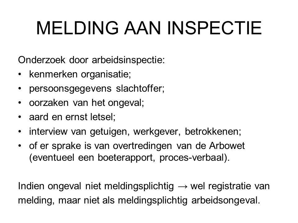 MELDING AAN INSPECTIE Onderzoek door arbeidsinspectie: