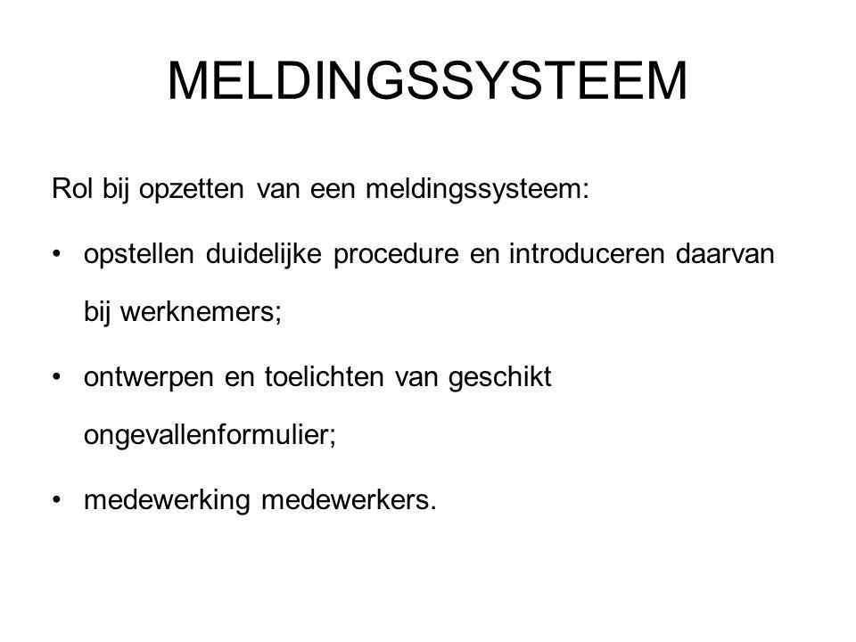 MELDINGSSYSTEEM Rol bij opzetten van een meldingssysteem: