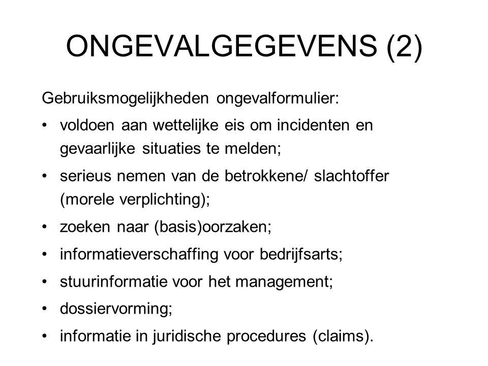 ONGEVALGEGEVENS (2) Gebruiksmogelijkheden ongevalformulier: