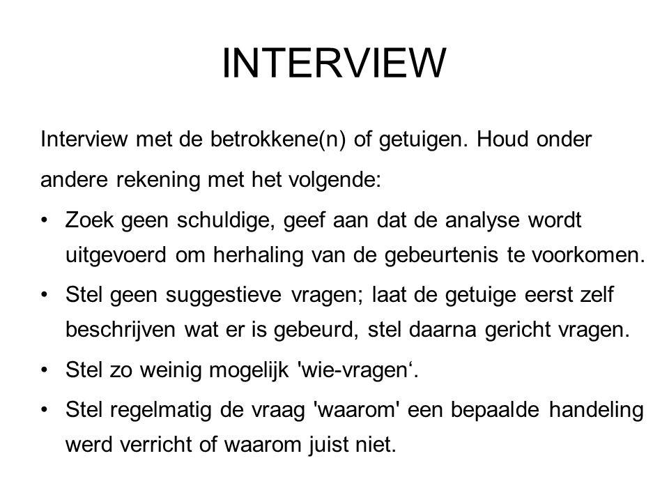 INTERVIEW Interview met de betrokkene(n) of getuigen. Houd onder