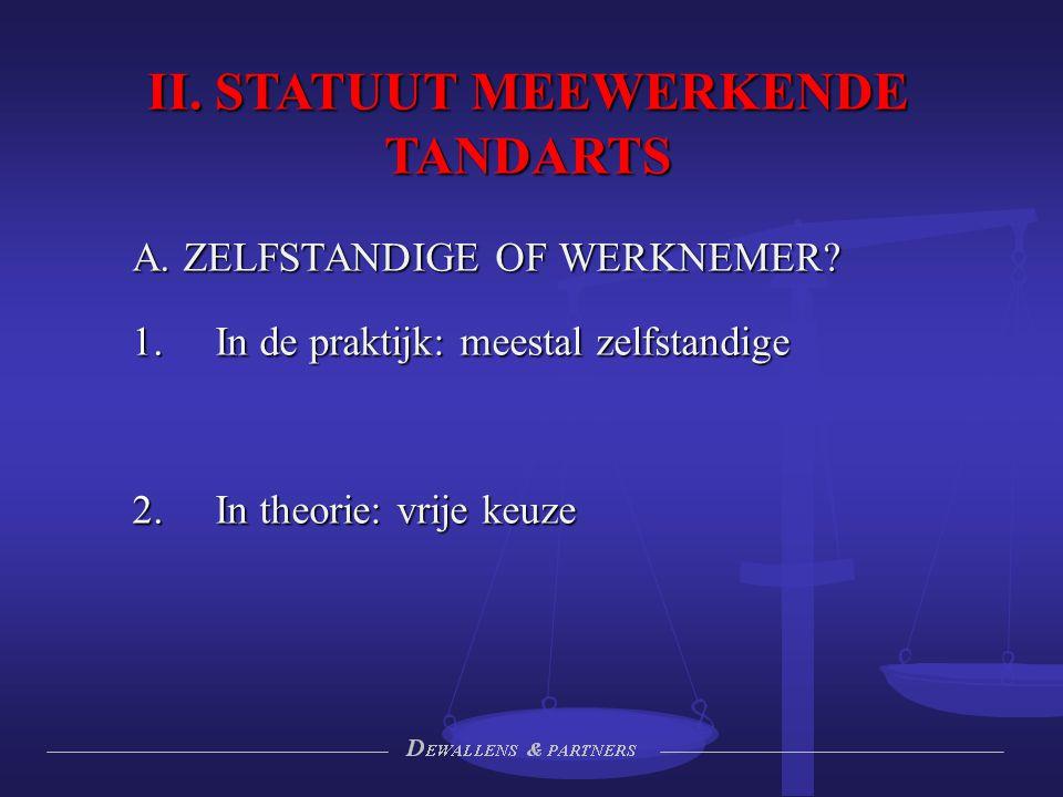 II. STATUUT MEEWERKENDE TANDARTS