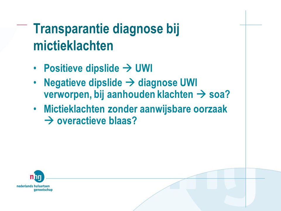 Transparantie diagnose bij mictieklachten