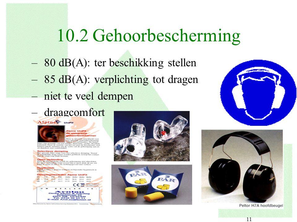 10.2 Gehoorbescherming 80 dB(A): ter beschikking stellen