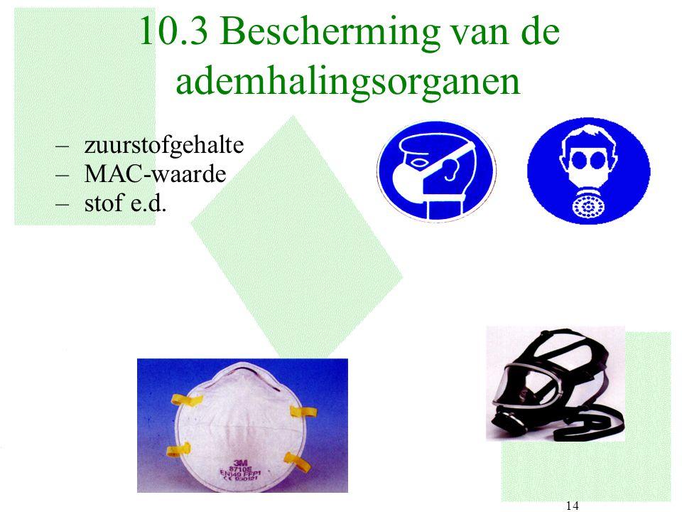 10.3 Bescherming van de ademhalingsorganen