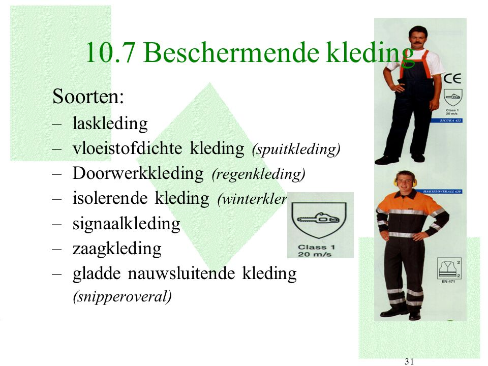 10.7 Beschermende kleding Soorten: laskleding