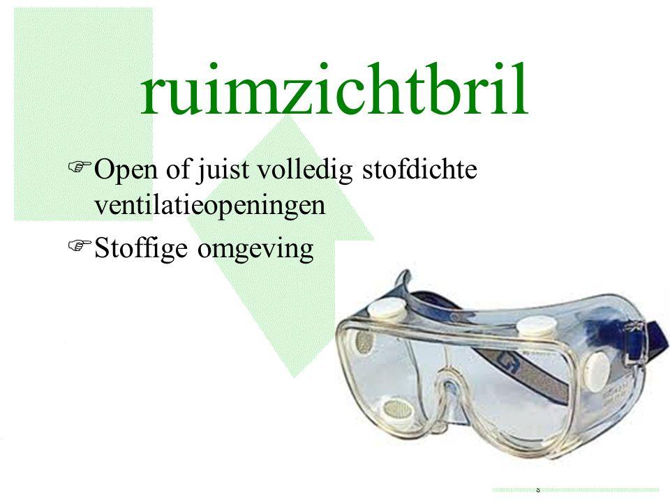 ruimzichtbril Open of juist volledig stofdichte ventilatieopeningen