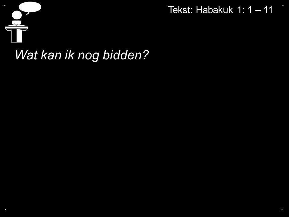 . . Tekst: Habakuk 1: 1 – 11 Wat kan ik nog bidden . .