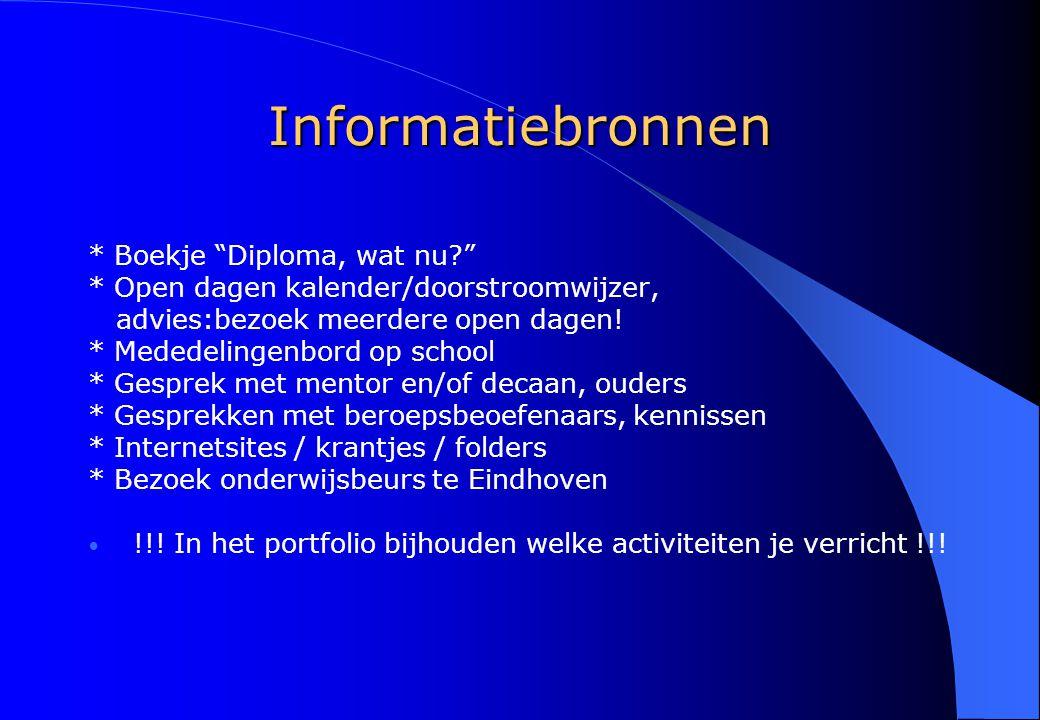 Informatiebronnen * Boekje Diploma, wat nu