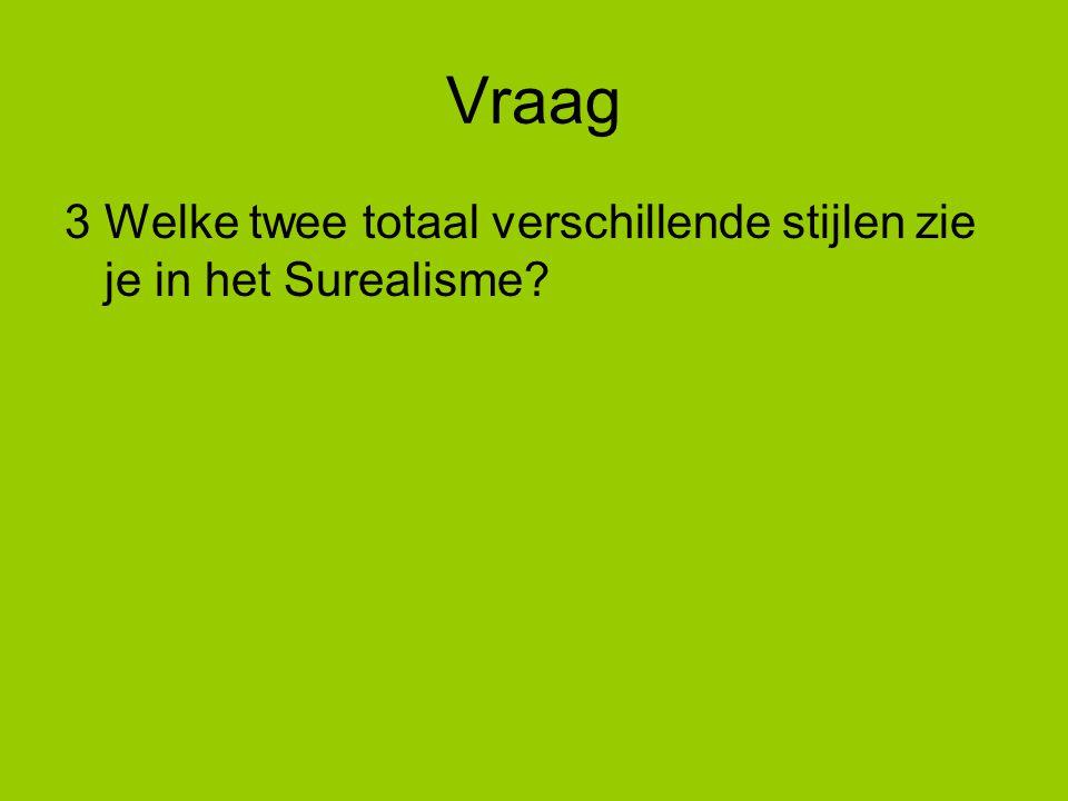 Vraag 3 Welke twee totaal verschillende stijlen zie je in het Surealisme