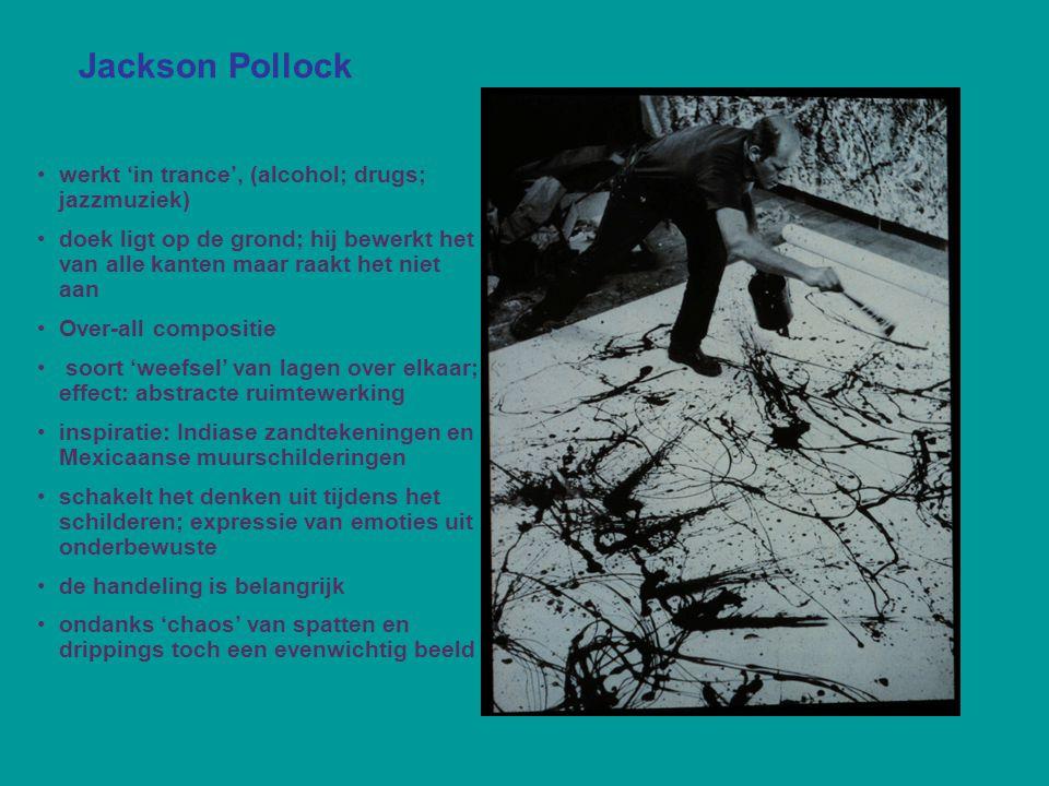 Jackson Pollock werkt 'in trance', (alcohol; drugs; jazzmuziek)