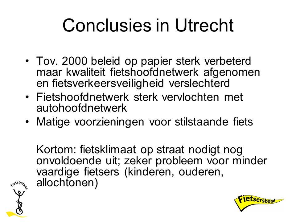 Conclusies in Utrecht Tov. 2000 beleid op papier sterk verbeterd maar kwaliteit fietshoofdnetwerk afgenomen en fietsverkeersveiligheid verslechterd.
