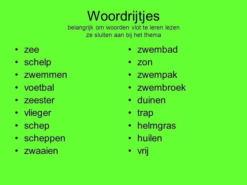 Woordrijtjes belangrijk om woorden vlot te leren lezen ze sluiten aan bij het thema