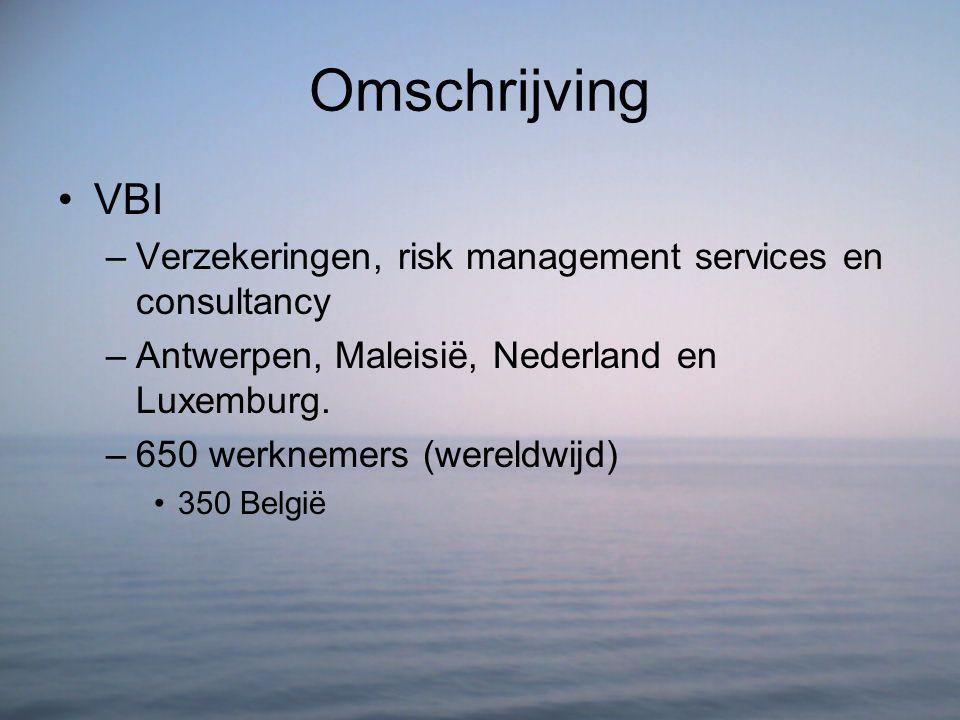 Omschrijving VBI. Verzekeringen, risk management services en consultancy. Antwerpen, Maleisië, Nederland en Luxemburg.
