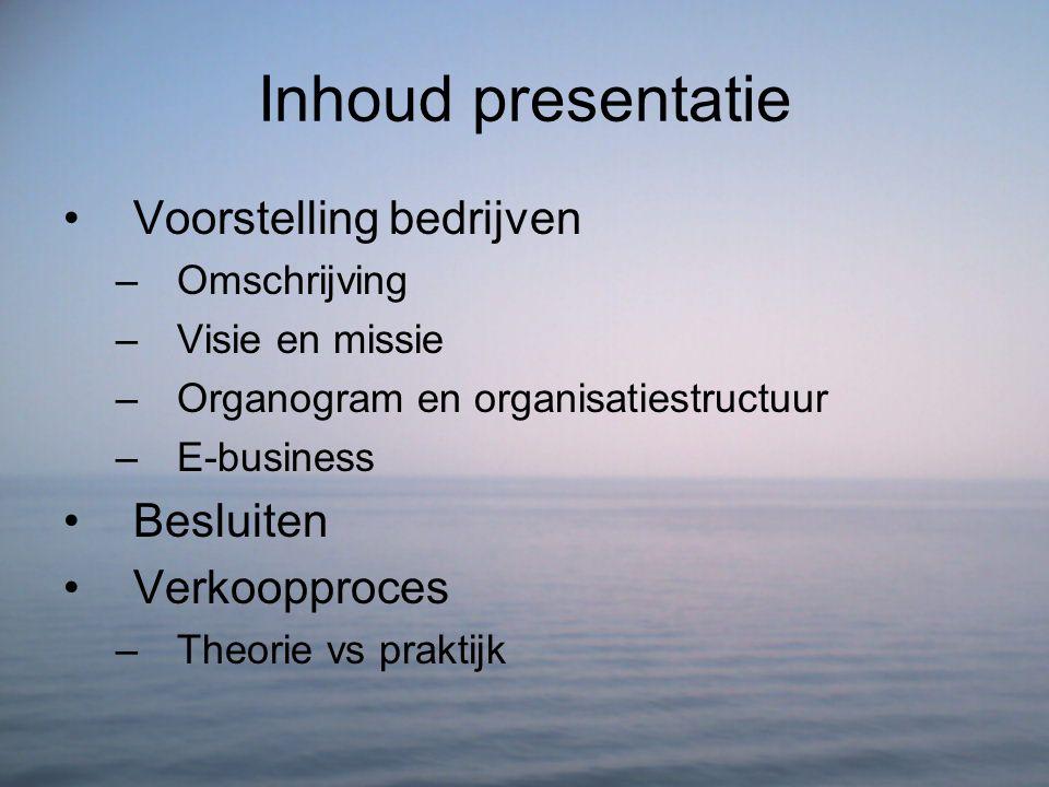 Inhoud presentatie Voorstelling bedrijven Besluiten Verkoopproces