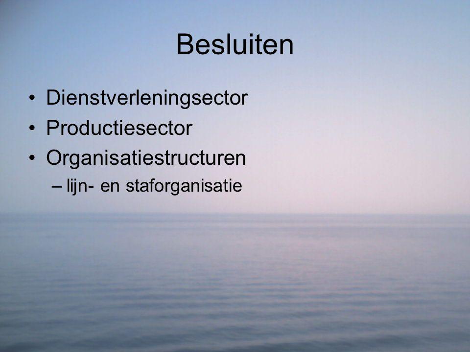 Besluiten Dienstverleningsector Productiesector Organisatiestructuren