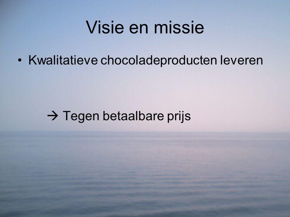 Visie en missie Kwalitatieve chocoladeproducten leveren