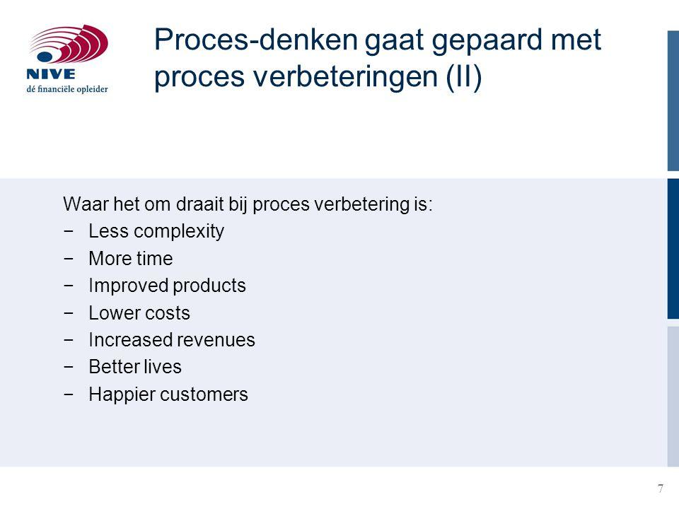 Proces-denken gaat gepaard met proces verbeteringen (II)