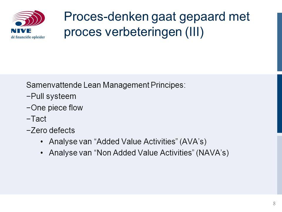 Proces-denken gaat gepaard met proces verbeteringen (III)