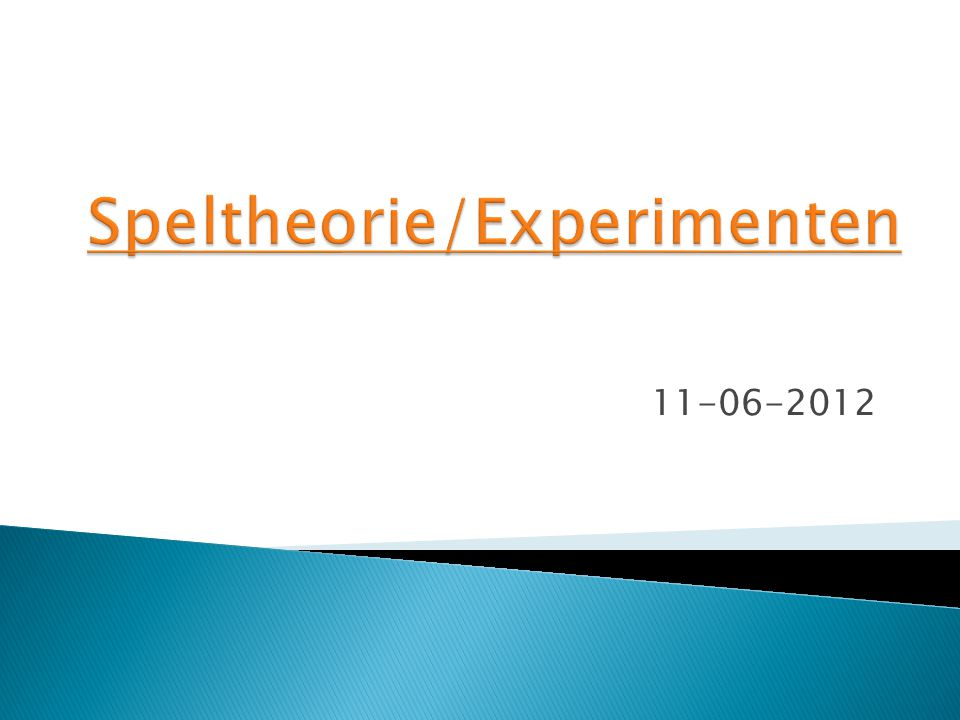 Speltheorie/Experimenten
