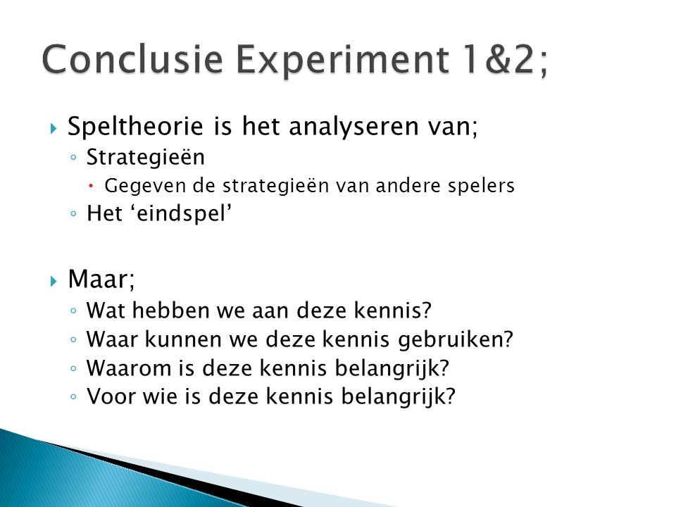Conclusie Experiment 1&2;