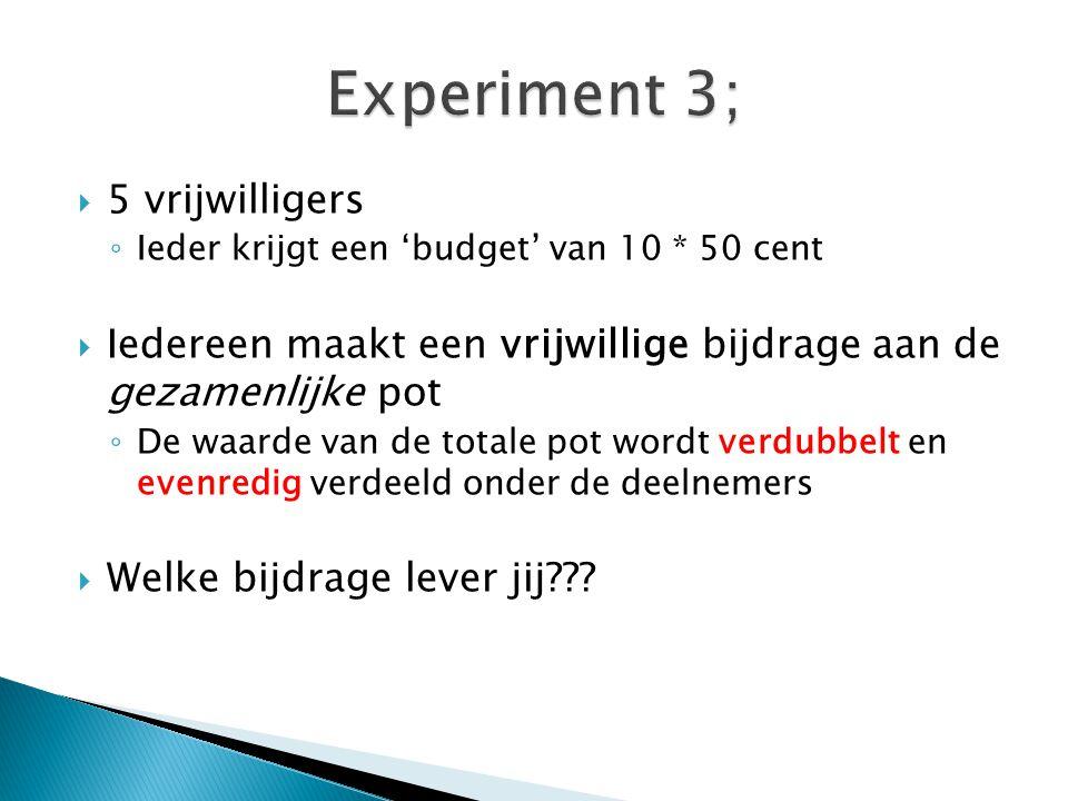 Experiment 3; 5 vrijwilligers