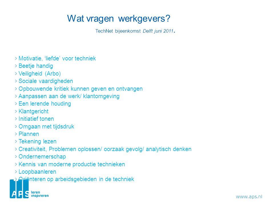 Wat vragen werkgevers TechNet bijeenkomst Delft juni 2011.