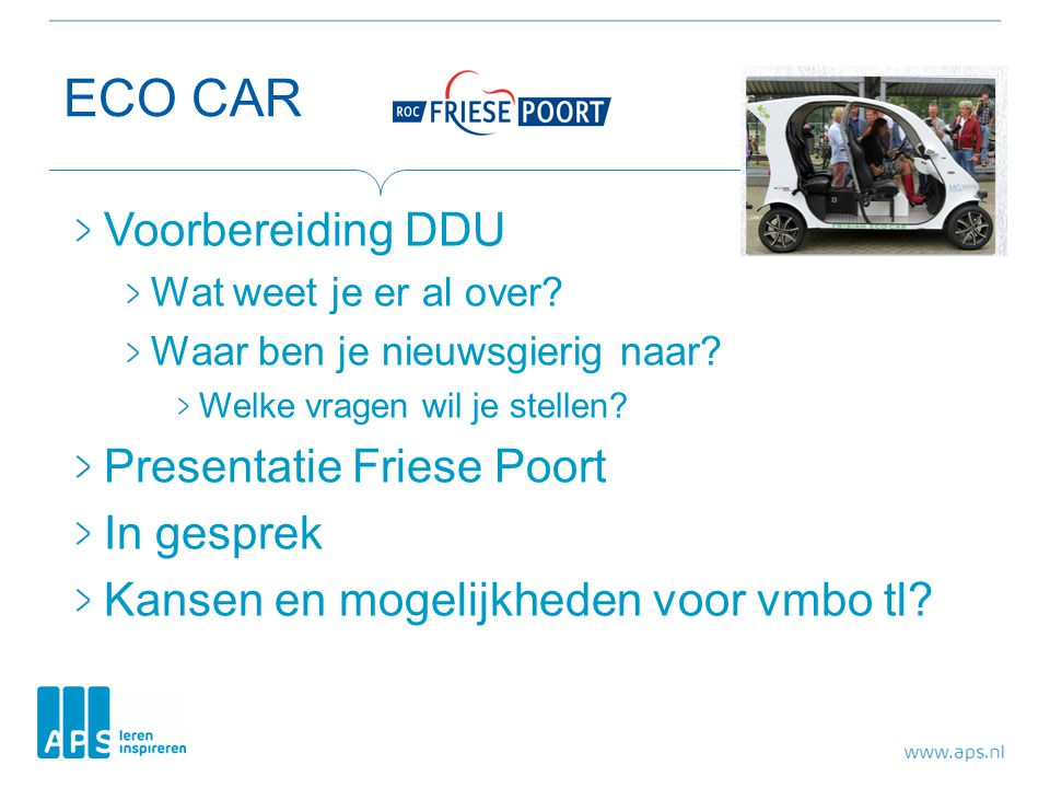ECO CAR Voorbereiding DDU Presentatie Friese Poort In gesprek