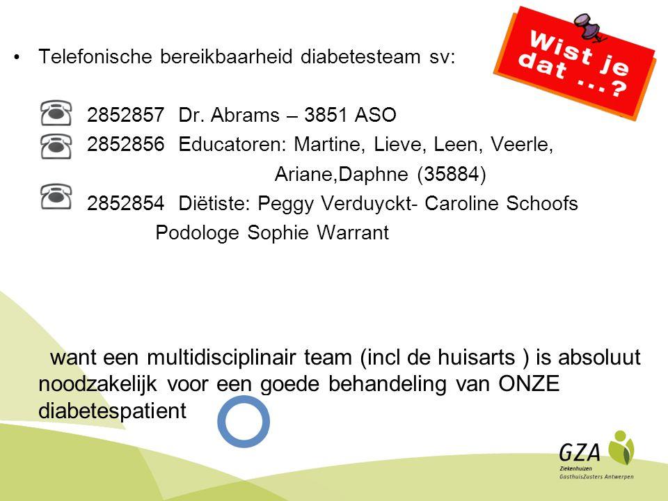 Telefonische bereikbaarheid diabetesteam sv: