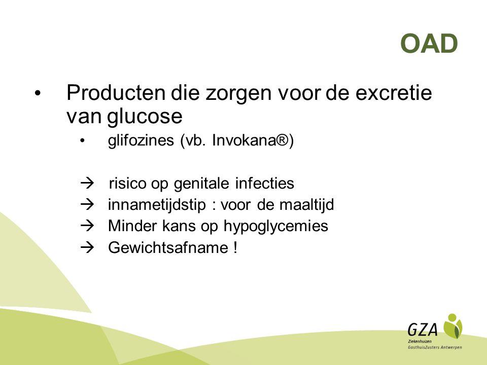 OAD Producten die zorgen voor de excretie van glucose