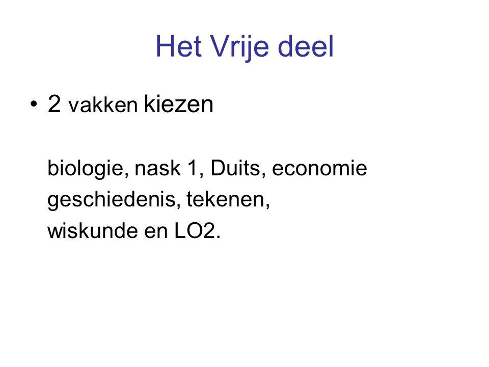 Het Vrije deel 2 vakken kiezen biologie, nask 1, Duits, economie