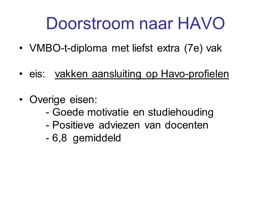Doorstroom naar HAVO VMBO-t-diploma met liefst extra (7e) vak