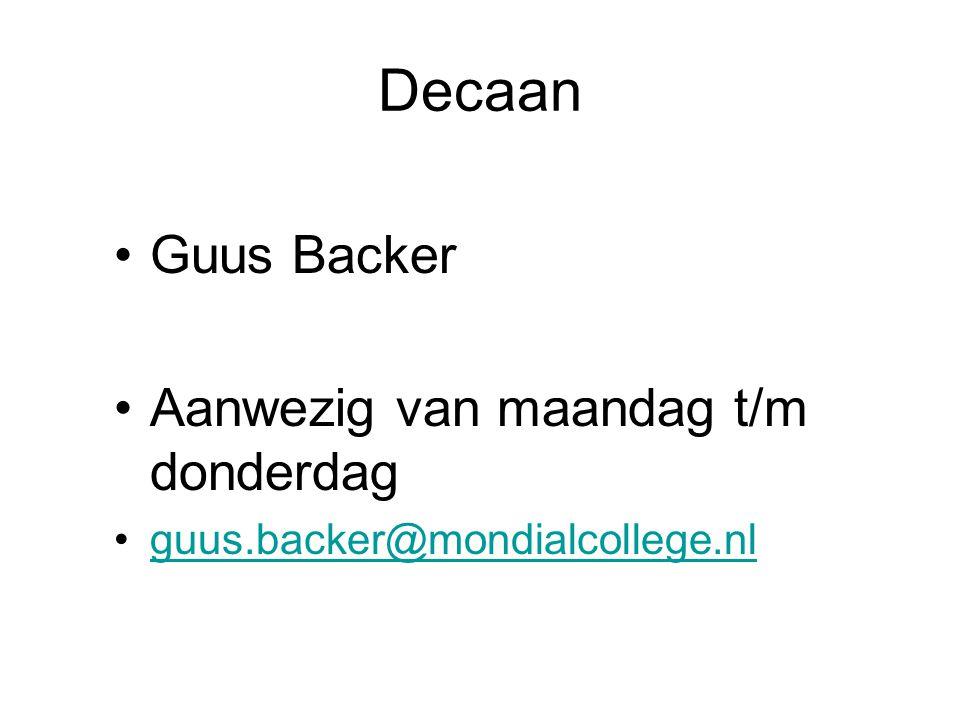 Decaan Guus Backer Aanwezig van maandag t/m donderdag
