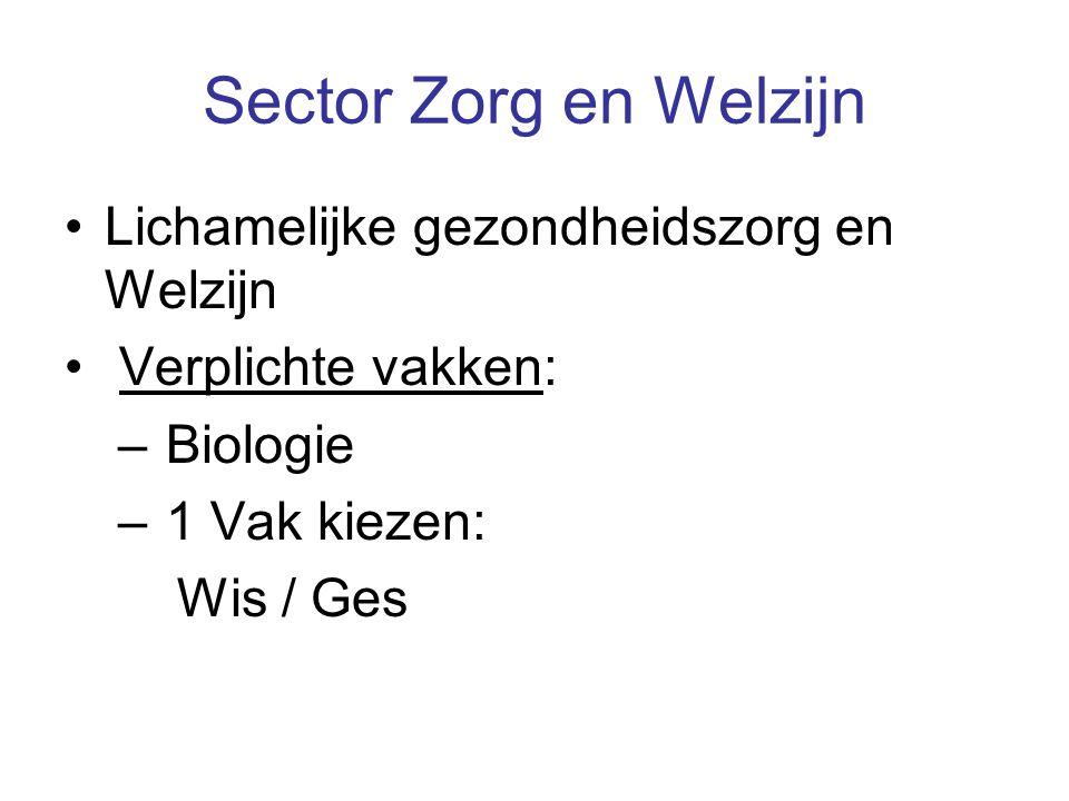 Sector Zorg en Welzijn Lichamelijke gezondheidszorg en Welzijn