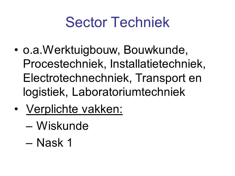 Sector Techniek o.a.Werktuigbouw, Bouwkunde, Procestechniek, Installatietechniek, Electrotechnechniek, Transport en logistiek, Laboratoriumtechniek.