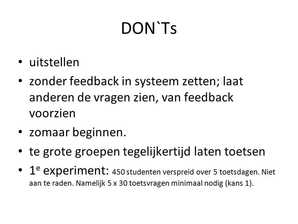 DON`Ts uitstellen. zonder feedback in systeem zetten; laat anderen de vragen zien, van feedback voorzien.