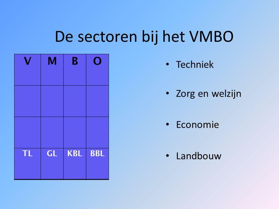 De sectoren bij het VMBO