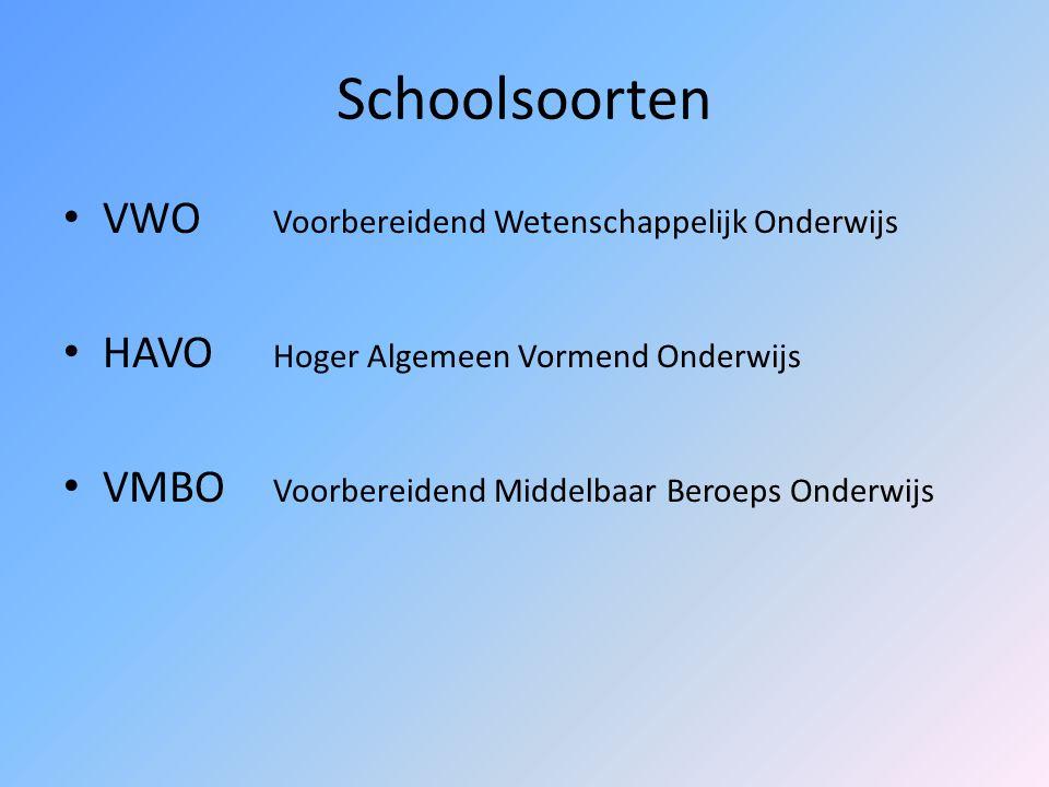 Schoolsoorten VWO Voorbereidend Wetenschappelijk Onderwijs