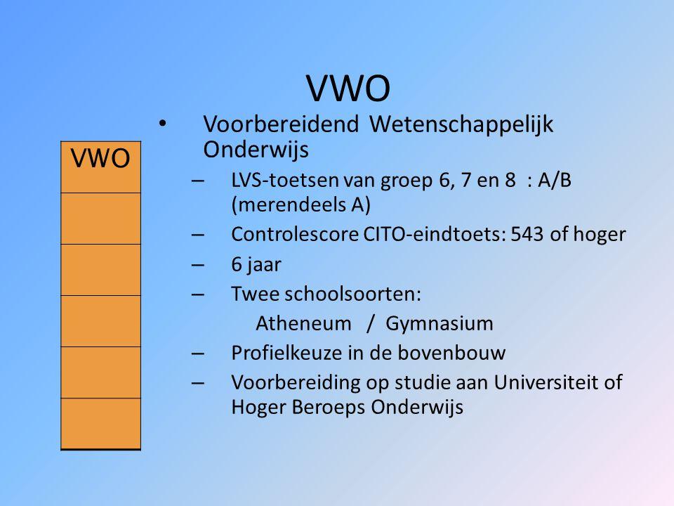 VWO VWO Voorbereidend Wetenschappelijk Onderwijs