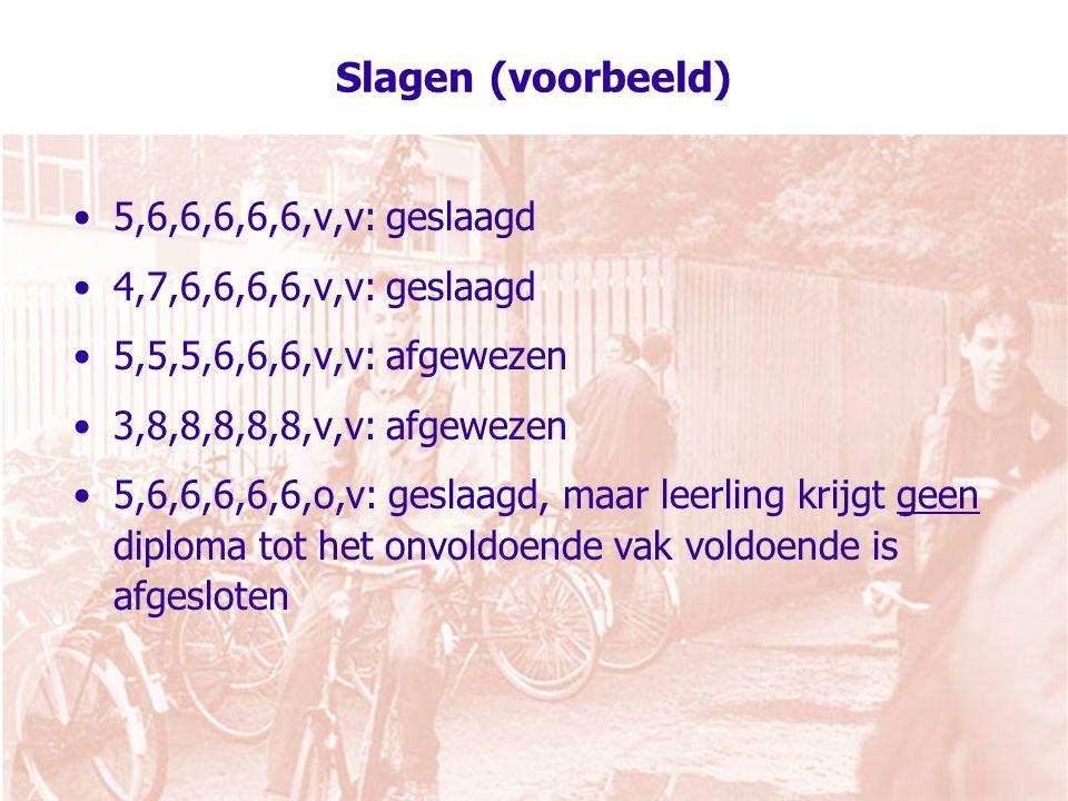 Slagen (voorbeeld) 5,6,6,6,6,6,v,v: geslaagd 4,7,6,6,6,6,v,v: geslaagd