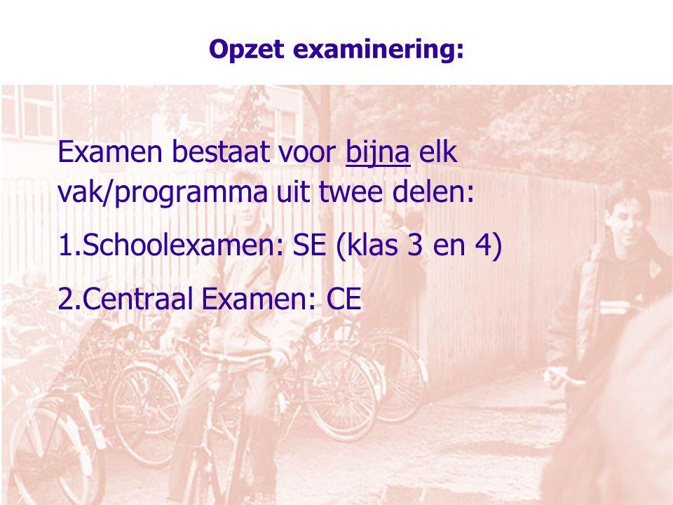 Examen bestaat voor bijna elk vak/programma uit twee delen: