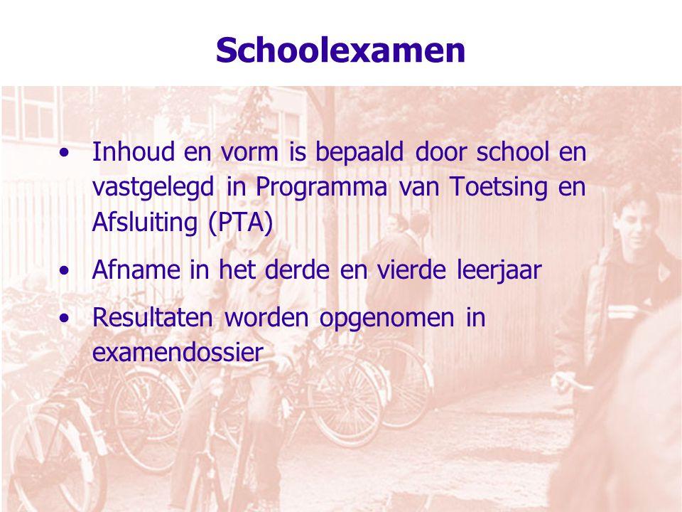 Schoolexamen Inhoud en vorm is bepaald door school en vastgelegd in Programma van Toetsing en Afsluiting (PTA)