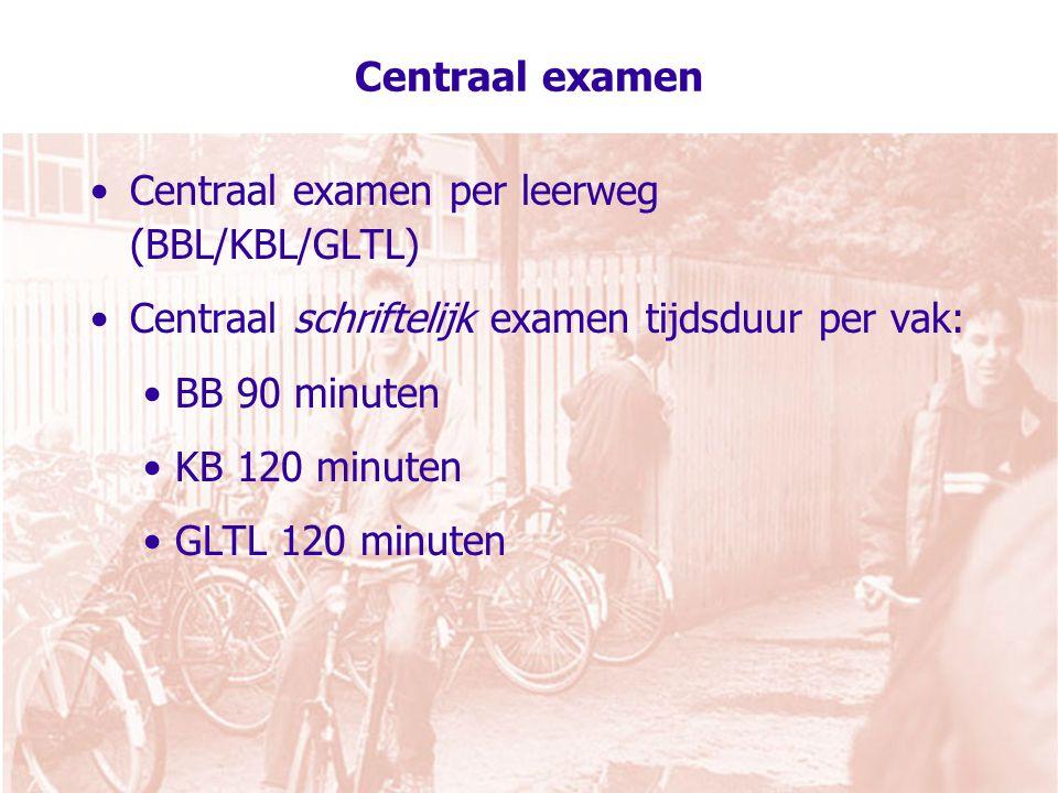 Centraal examen per leerweg (BBL/KBL/GLTL)