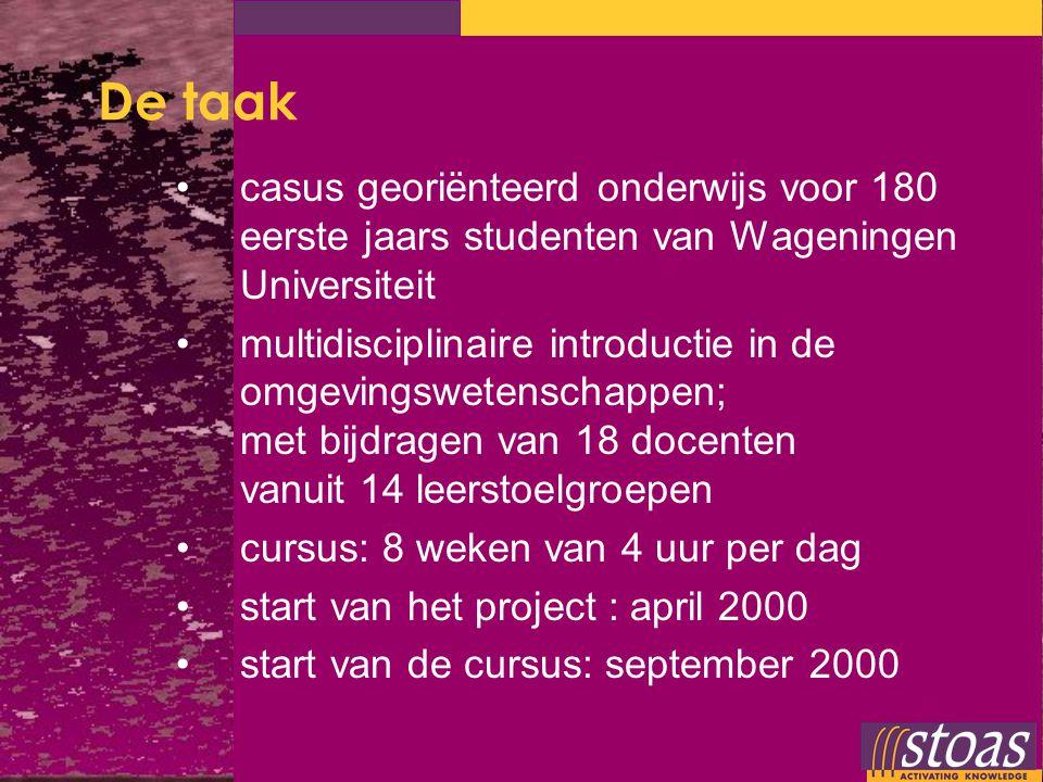 De taak casus georiënteerd onderwijs voor 180 eerste jaars studenten van Wageningen Universiteit.