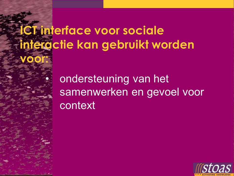 ICT interface voor sociale interactie kan gebruikt worden voor: