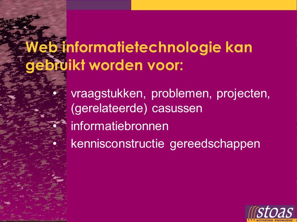 Web informatietechnologie kan gebruikt worden voor: