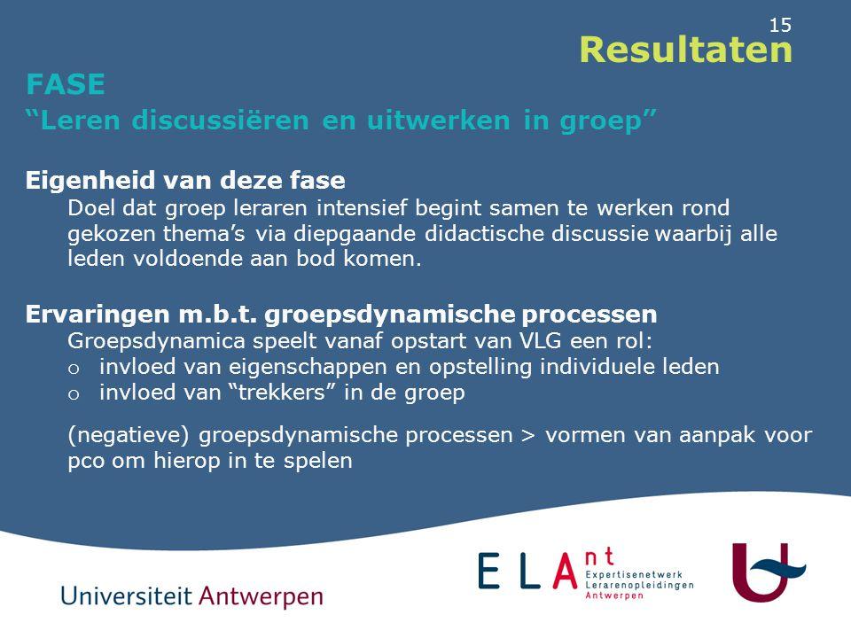 Resultaten FASE Leren discussiëren en uitwerken in groep
