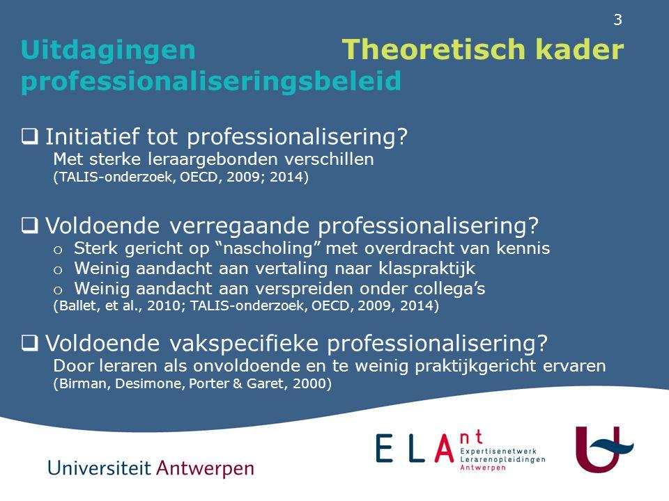 Theoretisch kader Professionalisering ingebed in een schoolbeleid